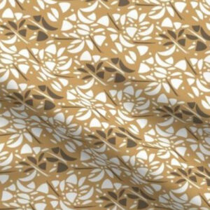 Art deco fabric with abstract floral design in yellow