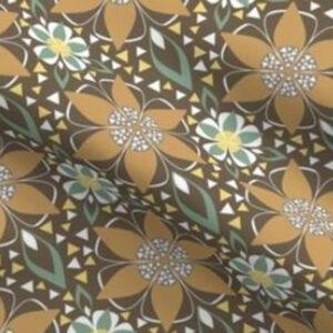 Art deco fabric geometric floral design in earth brown