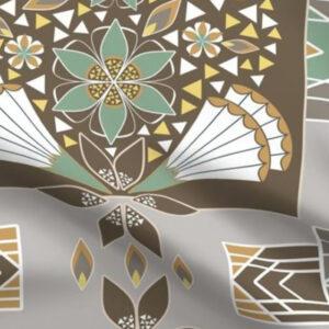 Art deco fabric large scale design in earth tones