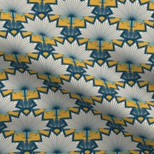 Art deco fabric starburst design in yellow and blue