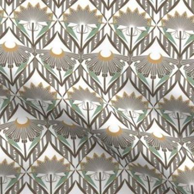 Art deco wallpaper ornate floral design in earth tones