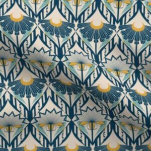 Art deco wallpaper ornate floral design in indigo blue