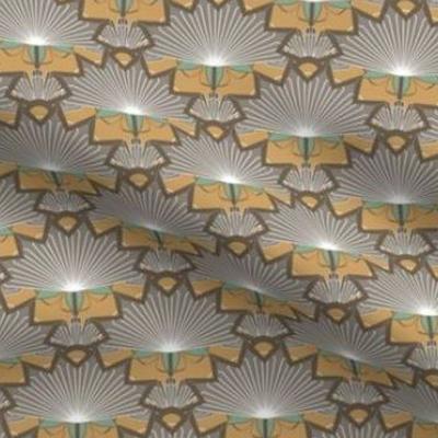 Art deco wallpaper starburst design in earth tones
