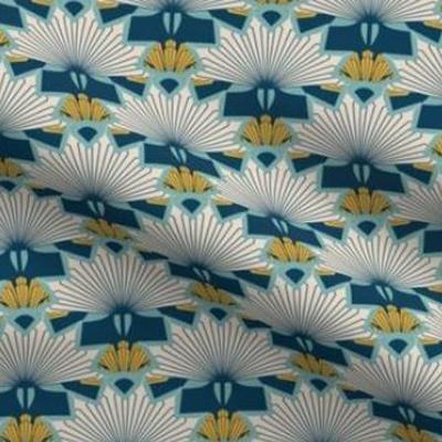 Art deco wallpaper starburst design in indigo blue