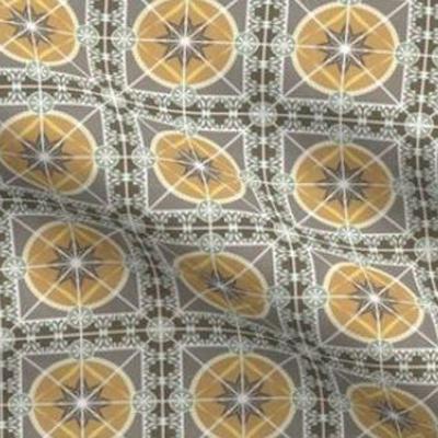 Art deco wallpaper tile design in goldenrod