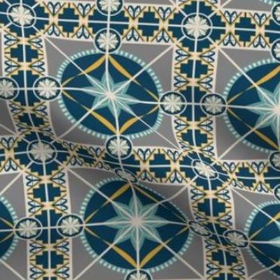 Art deco wallpaper tile design in indigo blue