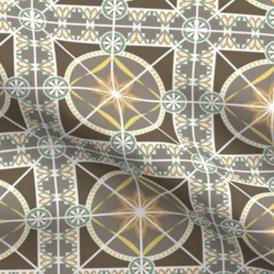 Art deco wallpaper tile design in earth tones