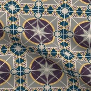 Art deco wallpaper tile design in plum and blue