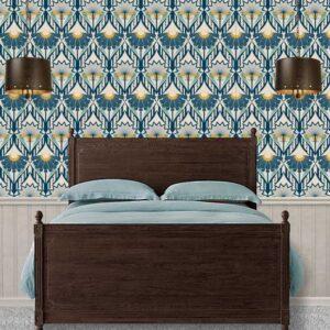 Fabric & Wallpaper: Art Deco Ornate Floral in Blue