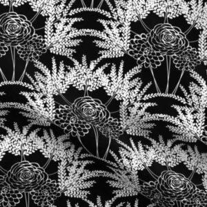 Fabric & Wallpaper: White Rose & Fern Scallop on Black