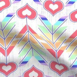 Fabric & Wallpaper: Valentine Rainbow Heart Arrows