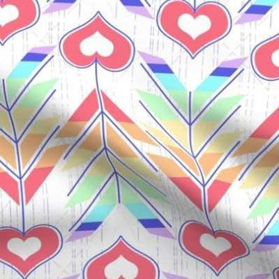 Fabric with rainbow heart arrows