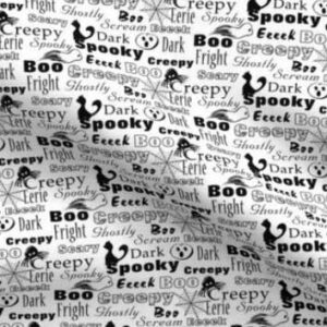 Black and white text of spooky Halloween words
