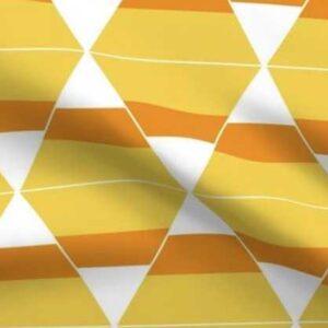 Orange Halloween candy corn bunting fabric