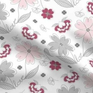 Fabric & Wallpaper: Valentine Love Flowers in Pink, Gray