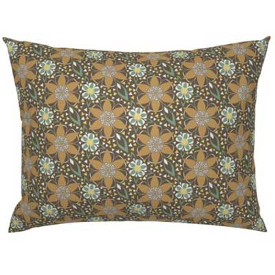 Pillow sham with earth toned art deco pattern