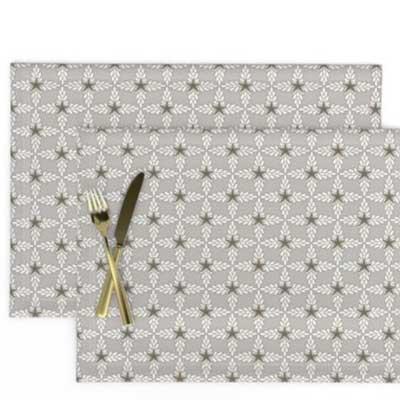 Fabric & Wallpaper: Art Deco Floral Lattice in French Gray