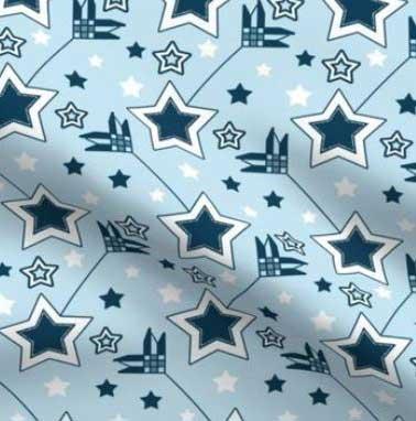 Two tone blue star arrow fabric