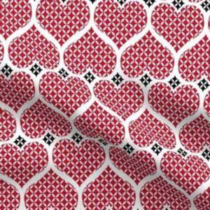 Fabric & Wallpaper: Valentine Red Lattice Hearts