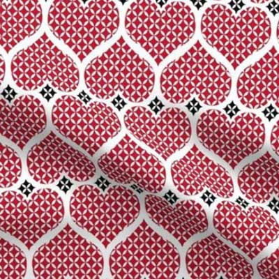 Fabric with red heart lattice pattern