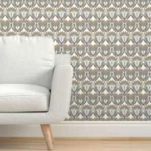 Fabric & Wallpaper: Art Deco Ornate Floral in Earth Tones