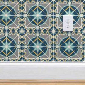 Fabric & Wallpaper: Art Deco Tile in Indigo Blue