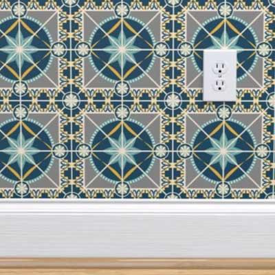 Faux Spanish tile wallpaper