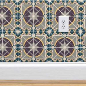 Fabric & Wallpaper: Art Deco Star Tile in Plum