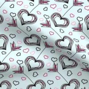 Fabric & Wallpaper: Valentine Cupid's Arrow in Pink, Teal