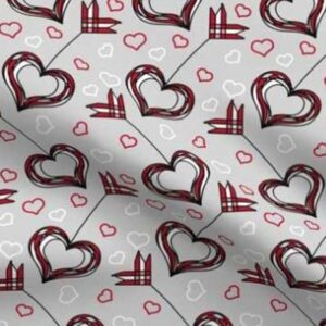 Fabric & Wallpaper: Valentine Cupid's Bow in Red, Gray