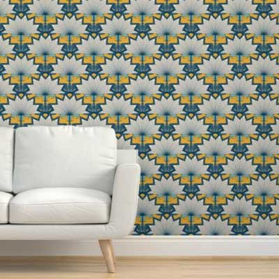Fabric & Wallpaper: Art Deco Starburst Floral Scallop in Goldenrod