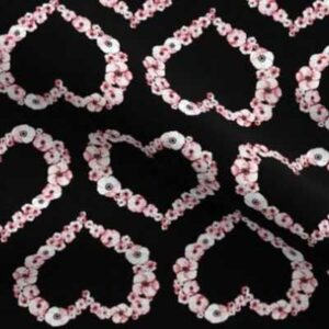 Fabric & Wallpaper: Valentine Floral Hearts in Red, Black