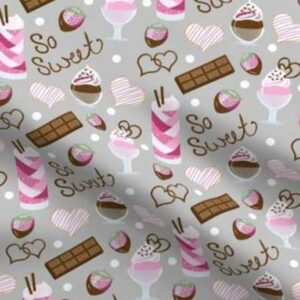 Fabric & Wallpaper: Valentine Sweets in Pink, Gray