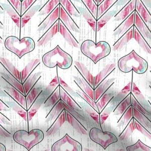 Fabric & Wallpaper: Valentine Heart Arrows in Pink, Teal