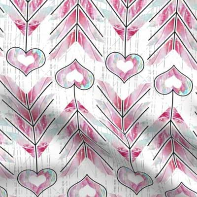 Valentine fabric with heart arrows in pink and teal