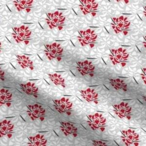 Fabric & Wallpaper: Valentine Abstract Floral in Red, White