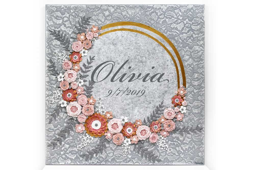 Pink and Gray Floral Nursery Wall Art