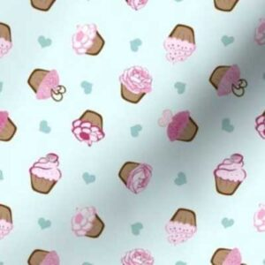 Fabric & Wallpaper: Valentine Cupcakes, Pink, Teal
