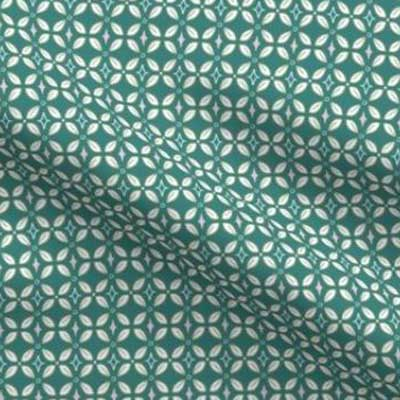 Easter fabric with teal butterfly lattice