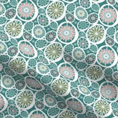 Easter fabric with decorated eggs in teal