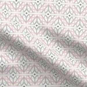 Diamond lattice upholstery fabric in gray and pink