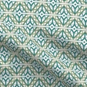 Diamond lattice upholstery fabric in green and teal