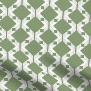 Lattice upholstery fabric in green and white