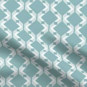 Lattice upholstery fabric in teal and white