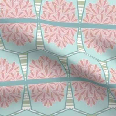 Easter bunting fabric in pink and teal