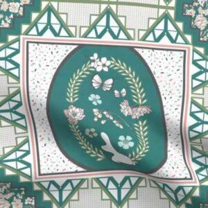 Fabric & Wallpaper: Quilt Blocks, Woodland Easter, Teal