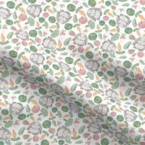 Fabric & Wallpaper: Veggies and Rabbits, White