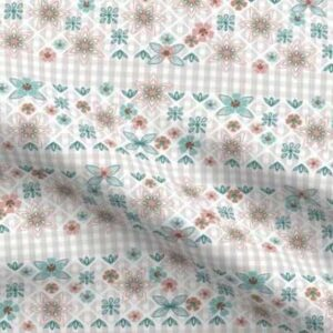 Fabric & Wallpaper: Easter Gingham, Teal, Gray