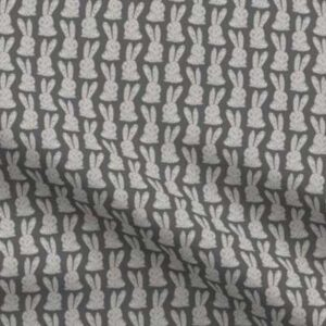 Fabric & Wallpaper: Block Print Bunnies, Gray