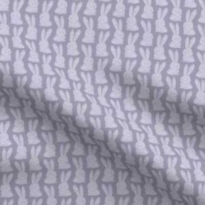Fabric & Wallpaper: Block Print Bunnies, Purple